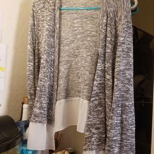 Gray and white cardigan
